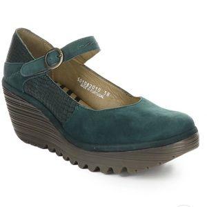 Fly London Yuko wedge Mary Jane pump-Green Leather